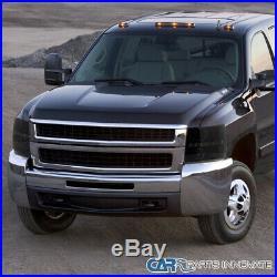 Fit Chevy 07-14 Silverado LED U Ring Halo Black Smoke Projector Headlights Pair