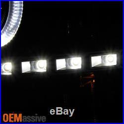 Fit GAZE 07-13 Silverado Halo Projector LED Black Headlights + 8K HID