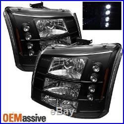 Fits 03-06 Silverado Pickup Truck 1Pc Amber Black Headlights+Bumper Signal Light