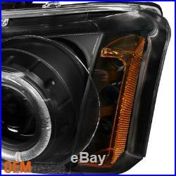 Fits 03-06 Silverado Pickup Truck Black Bezel Dual Halo Projector Headlights