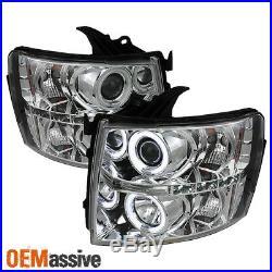 Fits 07-14 Silverado Pickup Dual CCFL Halo Projector LED Headlights Lamp Pair