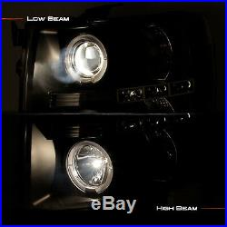 Fits 07-14 Silverado Pickup Truck Black Bezel Dual Halo Projector Headlights
