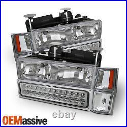 Fits 1994-1998 Yukon Chevy C/K 1500 Chrome Headlight+LED Bumper+Corner Signal