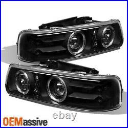 Fits 1999-2006 Chevy Silverado Suburban Black Halo Projector LED Headlights L+R