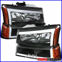 Fits 2003-2007 Chevy Silverado Avalanche LED Bar Headlights+Bumper Lamps Black