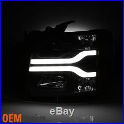 Fits 2007-2013 Chevy Silverado Dual DRL LED Tube Black Projector Headlights