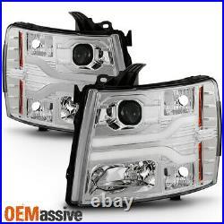 Fits 2007-2013 Chevy Silverado Dual DRL LED Tube Chrome Projector Headlights