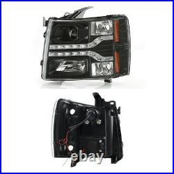 Fits 2007-2013 Chevy Silverado Pickup Dual DRL LED Black Projector Headlights