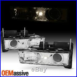 Fits 88-98 C/K C10 Full Size Pickup Truck Chrome Clear Projector Headlights Pair