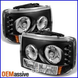 Fits 99-02 Silverado 00-06 Suburban Tahoe 1PC Black LED Headlights Signal Lamps