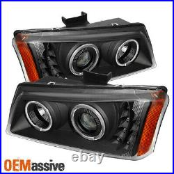 Fits Black 03-06 Silverado 03-06 Avalanche Halo Projector DRL LED Headlights Set