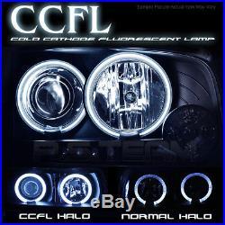 Fits Black 07-13 Silverado Truck Dual CCFL Halo Projector LED Headlights Lamps
