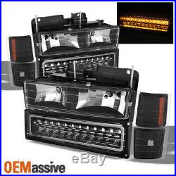Fits Black 94-98 C10 C/K Suburban Tahoe Silverado Headlights +LED Bumper+Corner