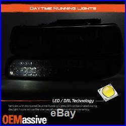 Fits Smoked 99-02 Silverado 00-06 Suburban Headlights +LED Bumper Signal Lights