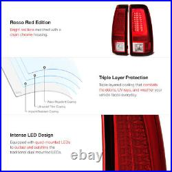 For 03-06 Chevy Silverado 1500 2500 3500 HD Classic Red Lens Neon LED Tail Light