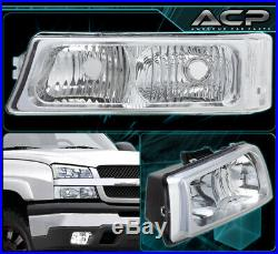 For 03-06 Chevy Silverado Avalanche Front Driving Chrome Headlight Signal Pair