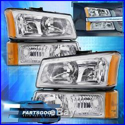 For 03-06 Chevy Silverado Chrome Amber Corner Head Lights + Signal Bumper Lamps