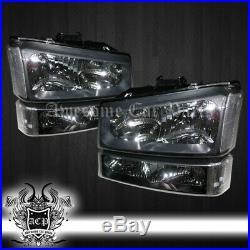 For 03-06 Silverado 1500 2500 Black Housing Headlights Clear Bumper Signal Light
