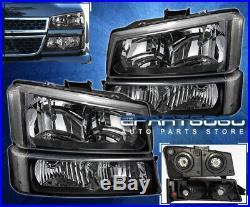 For 03-06 Silverado Black Headlights+Clear Reflector Signal Bumper Lamps 4Pc Set