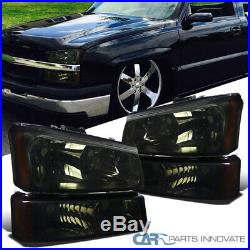 For 03-07 Chevy Silverado Avalanche Pickup Smoke Headlights+Parking Bumper Lamps