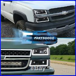 For 03-07 Chevy Silverado LED DRL Black Housing Clear Lens Reflectors Headlights