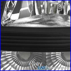 For 03-07 Silverado Avalanche 2in1 Black Headlights Bumper Signal Lamps Pair