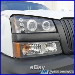 For 03-07 Silverado Avalanche Black Halo Projector Headlights with Bumper Lamps