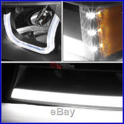 For 03-07 Silverado L+r Black Amber Led Drl Bumper Headlights+turn Signal Pair