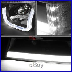 For 03-07 Silverado L+r Black Clear Led Drl Bumper Headlights+turn Signal Pair