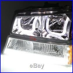 For 03-07 Silverado L+r Chrome Amber Led Drl Bumper Headlights+turn Signal Pair