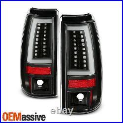 For 04-06 Silverado 1500/1500HD/2500/2500HD/3500 C-Tube LED Black TailLight Pair