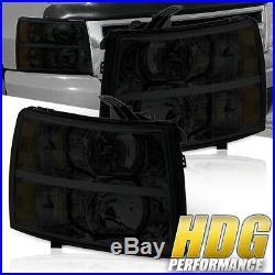 For 07 08 09 10 11 12 13 Chevy Silverado Headlights Smoked Lens Amber Reflectors