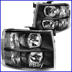 For 07-13 Chevy Silverado Black Housing Headlight+clear Turn Signal Bumper Lamp