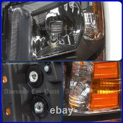 For 07-13 Chevy Silverado Replacement Head Lights Lamps Assembly Black Amber Set