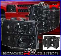 For 07-13 Chevy Silverado Smoked Crystal Replacement Headlights Driver Passenger