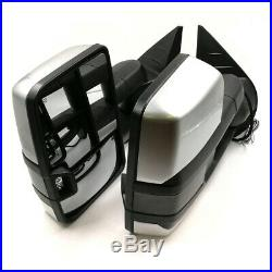 For 07-13 Silverado Painted Silver Tow Power+Heated Smoke LED Turn Signal Mirror