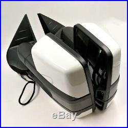 For 07-13 Silverado Painted White Tow Power+Heated Smoke LED Turn Signal Mirrors