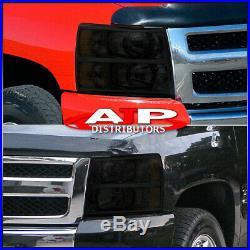 For 07-13 Silverado Pick Up Truck Smoke Crystal Amber Headlights Front Lamp Pair