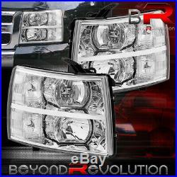 For 07-14 Chevy Silverado Crystal Reflector Housing Head Lights Lamp Lens Chrome