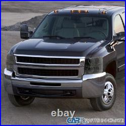 For 07-14 Chevy Silverado LED Halo Smoke Projector Headlights Tinted Head Lamps