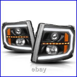 For 07-14 Silverado C-Shape LED DRL+Sequential Turn Signal Projector Headlights