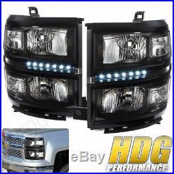For 14 15 Chevrolet Silverado 1500 Black Housing Led Headlights Clear Reflectors