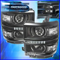 For 14-15 Chevy Silverado 1500 Black Housing Clear Projector LED DRL Headlights