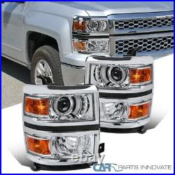 For 14-15 Chevy Silverado 1500 Clear Projector Headlights with Amber Corner Lamps