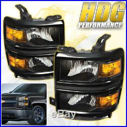 For 14-15 Chevy Silverado 1500 Head Lights Assembly Pair Black Amber Reflector