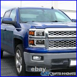 For 14-15 Chevy Silverado 1500 Pickup Black Headlamps withLED Light Bar Left+Right