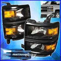 For 14-15 Chevy Silverado 1500 Pickup Driving Headlights Lamps Pair Black Amber