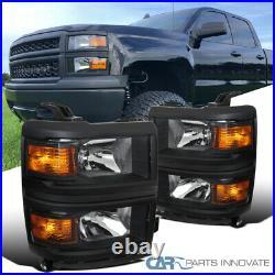 For 14-15 Chevy Silverado 1500 Pickup Matte Black Headlights Lamps Left+Right