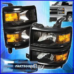 For 14-15 Silverado 1500 Front Driving Headlights Pair Black Amber Reflector