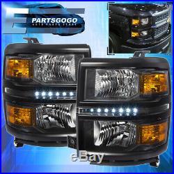 For 14-16 Chevy Silverado 1500 Led Black Housing Headlights Amber Reflectors Set